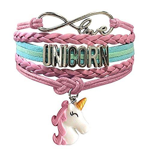 Unicorn Bracelet for Girls   Infinity Charm Bracelet   Unicorn Jewelry   Cute Handmade Bracelets Unicorn for Teen and Women   Wristband Leather Love Bracelet Party Favor for Kids ()