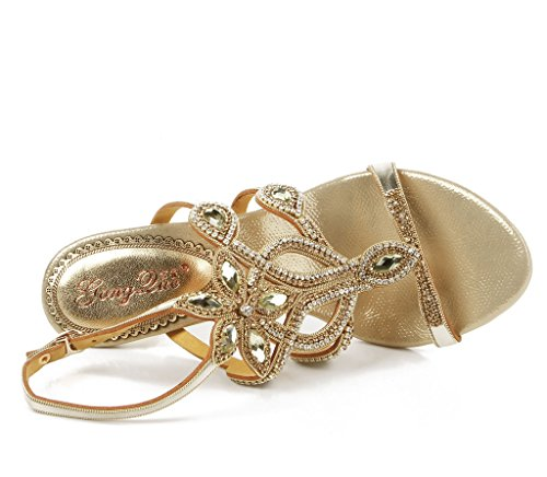 Crc Dames Mooie Open Teen Stiletto Hoge Hak Glinsterende Strass Avondfeest Bruiloft Mode Sandalen Stiletto-goud