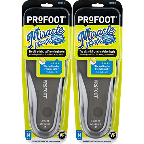 PROFOOT Original Miracle Insole, Men's 8-13, 2 Pair, 2-Layer Lightweight Insole with Memory-Foam Technology for Relief from Sore Feet and Aching Heels from Walking, Standing, Hiking by Profoot