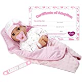 "Adora Adoption Baby ""Cherish"" 16 Inch Vinyl Girl Newborn Weighted Soft Cuddle Body Baby Doll Toy Gift Set with Open Close Brown Eyes for 3 Year old kids and up"