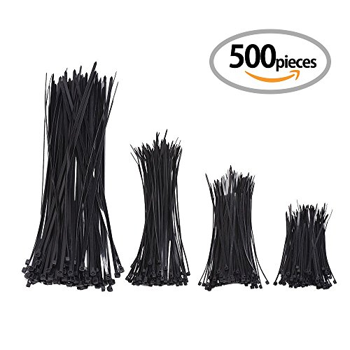 KONY 500 Pieces Self-Locking Nylon Cable Ties Zip Ties for Home Garden Garage Office Workspace - 4, 6, 8, 12 Inches Combo Pack (Black)