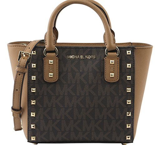 MICHAEL Michael Kors Women's Sandrine Stud Small Crossbody Bag, Style 35H7GD1C1B, Brown Acron by MICHAEL Michael Kors