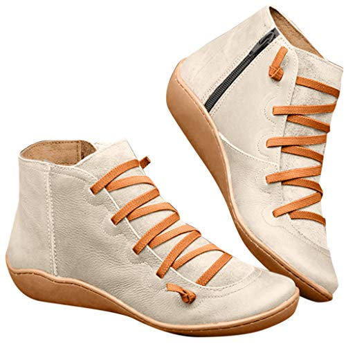 ⭐ Futurelove ⭐ 2019 New Women's Arch Support Boots with Side Zipper Ankle Boots Leather Comfortable Damping Shoes Platform Wedge Booties
