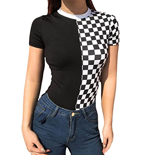 RAISINGTOP Women Fashion Printing Short Sleeve Sexy Tight Camisole Casual Jumpsuit Skinny Checkered Romper Bodysuit (Black, US 8)