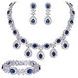 EVER FAITH Silver-Tone CZ Floral Leaves Water Drop Necklace Earrings Bracelet Set Blue Sapphire-color