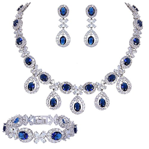 EVER FAITH Silver-Tone CZ Floral Leaves Water Drop Necklace Earrings Bracelet Set Blue Sapphire-color (Floral Inspired Sapphire Ring)