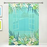 SUABO 1PC Ultra Luxurious Window Gauze Curtains, Polyester Washable Sheer Window Curtain Panels for Bedroom Living Room 55″ W x 78″ L – (Single panel), Tropical Pattern For Sale
