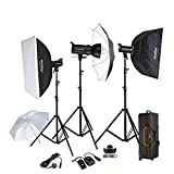 Godox SK400 3 x 400W Flash Kits for Photographic Lighting - Strobes, Barn Doors, Light Stands, Triggers, Umbrellas, Soft Box, Carrying Case