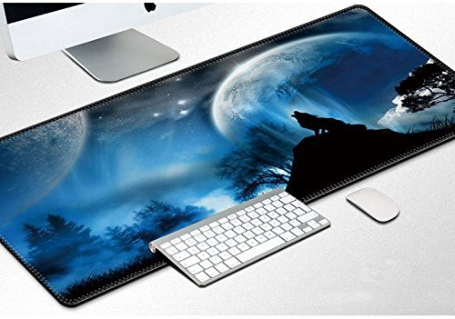 Karl Aiken Extended Gaming Mouse Pad Large Size 900x400mm Desk Keyboard Mat with Stitched Edges Non Slip Rubber Base Mouse Mat for Computer Desktop PC Laptop (Wolf)