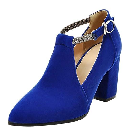 LILIHOT Damen Spitzen Single Schuhe High Heel Wildleder