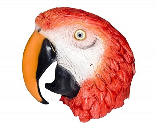Latex Full Head MACAW Parrot Tropical Bird Mask Costume Accessory