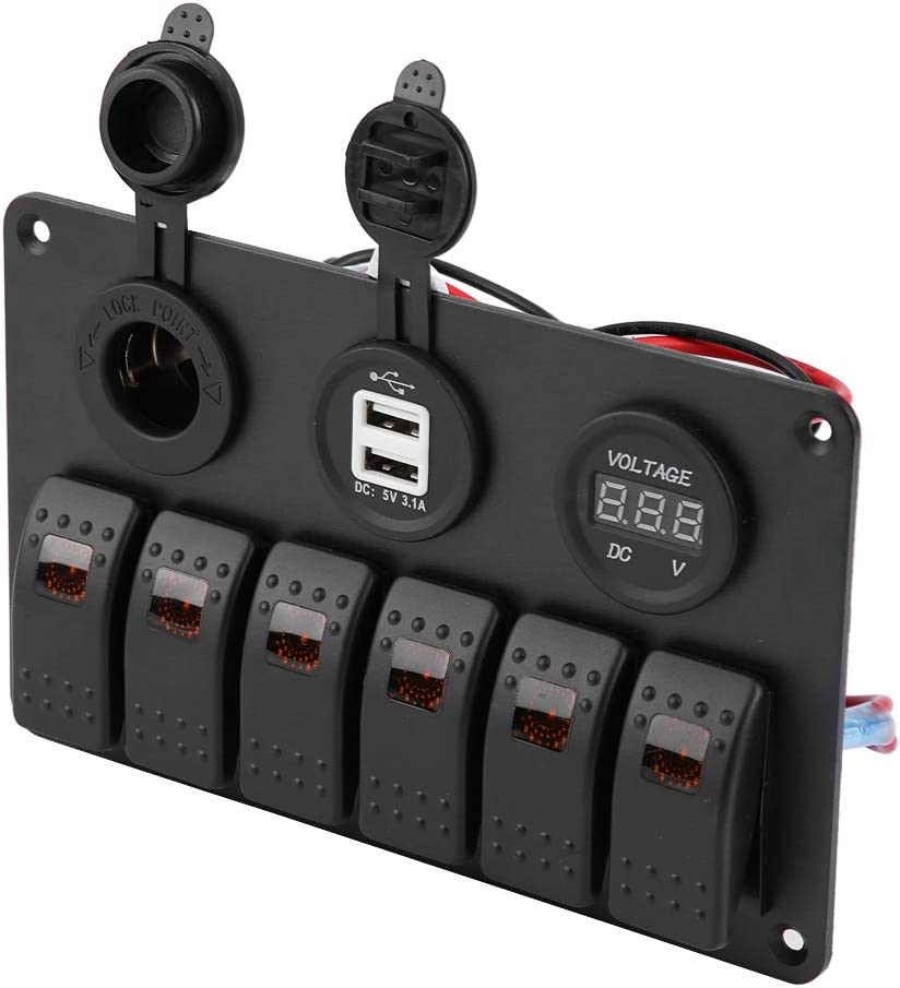 barcos Azul Panel de interruptores basculantes autobuses 12V // 24V Panel de interruptores basculantes LED de 6 pandillas doble toma de encendedor de volt/ímetro USB para autom/óviles barcos