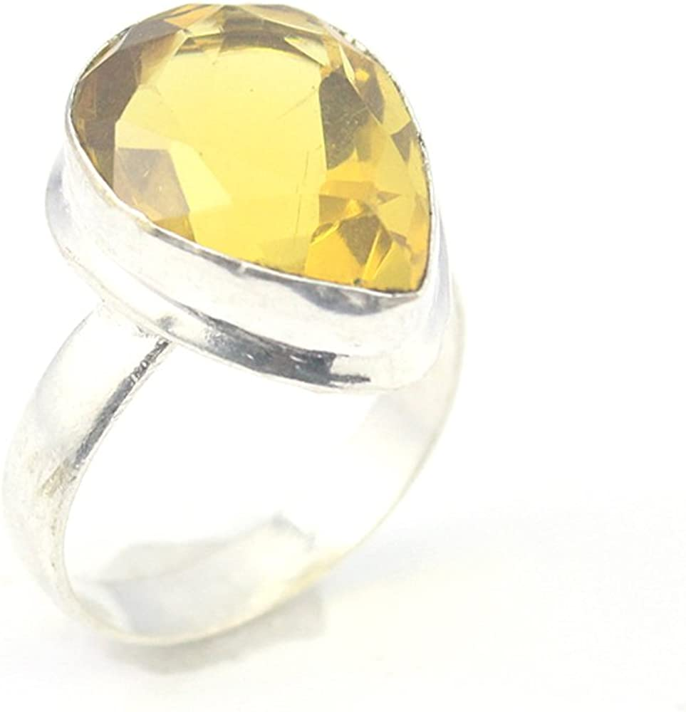 HIGH FINISH YELLOW CITRINE FASHION JEWELRY .925 SILVER PLATED RING 5 S24026
