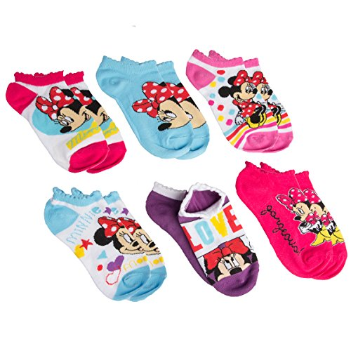 (Planet Sox (6 Pack) Minnie Mouse Little Girls No Show Ankle Socks, Kids Shoe Size 10.5-4)