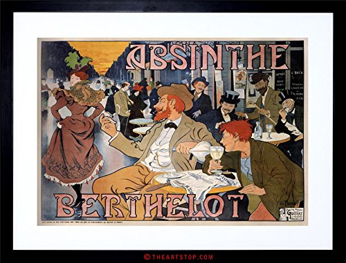 (Wee Blue Coo The Art Stop AD Absinthe BERTHELOT Brussels Cafe Vintage Framed Print F12X2088)