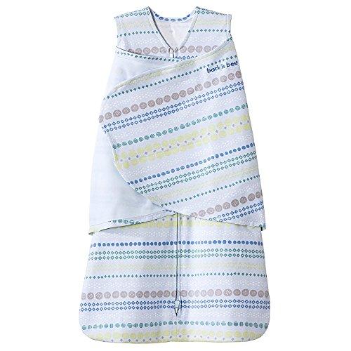 Halo Sleepsack 100% Cotton Swaddle, Stripes/Circles Blue, Newborn