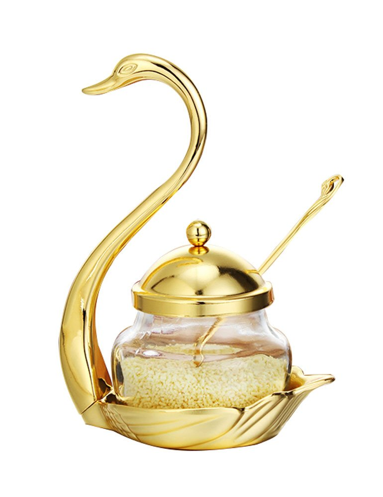 Cozyle Seasoning Container Spice Glass Jar Salt Sugar Bowl Pepper Coffee Swan Rack Condiment Pot with Serving Spoon Silver L