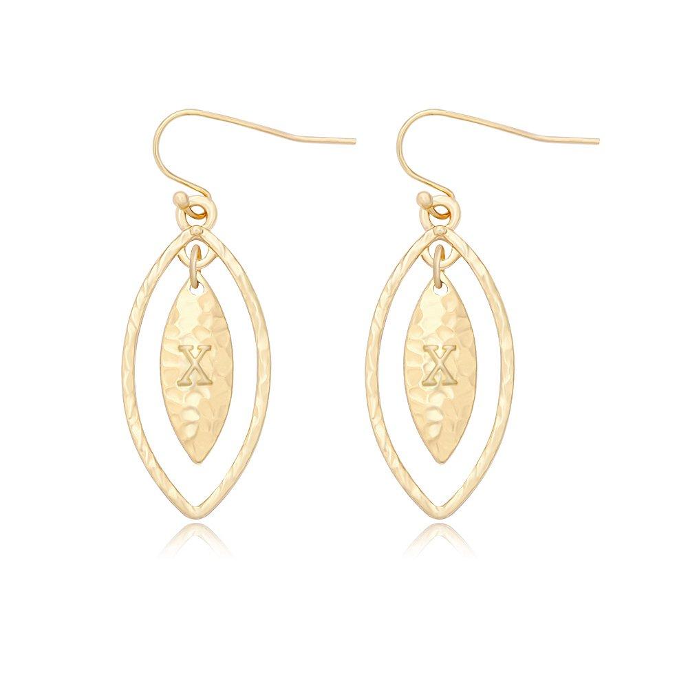 RUXIANG Elegant Alphabet Olive Leaves Hook Earrings