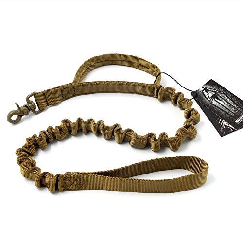 REEBOW GEAR Tactical Heavy Duty Dog Leash Large Dogs Nylon Bungee Leash Coyote Brown