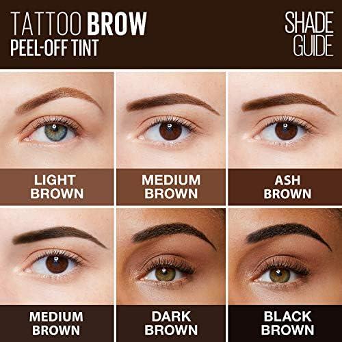 Maybelline New York Tattoo - Tinte de gel para cejas, color semipermanente, impermeable, dura hasta 3 días, color marrón cálido