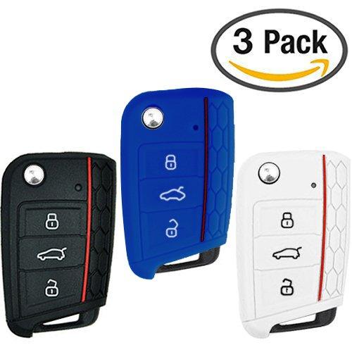 Keycarry® Lot de 3en silicone Clé de voiture Housse/support–Accessoires universels pour Volkswagen VW Golf 7MK7Skoda Octavia 3A7