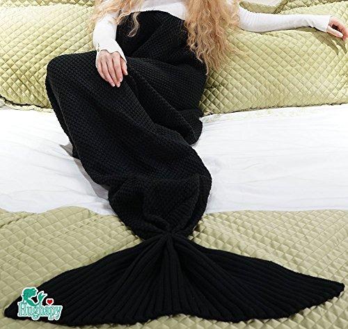 Hughapy Knitted Mermaid Tail Blanket for Adults Teens,Kids Crochet Snuggle Mermaid,All Seasons...