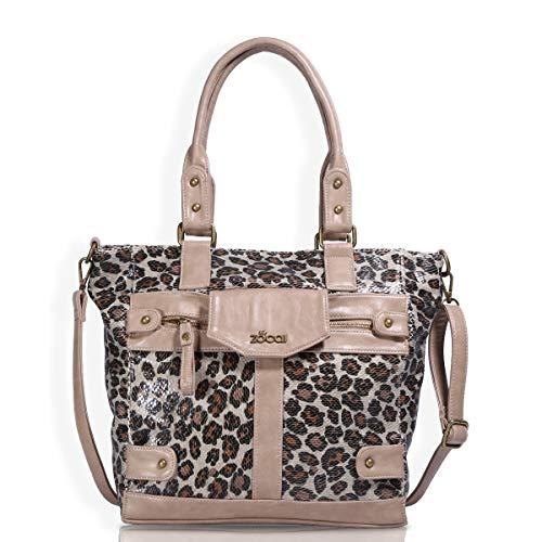 - ZOCAI Womens Hobo Shoulder Bag Soft PU Leather Top Handle Handbag Crossbody Tote Purse with Adjustable Strap (Leopard Apricot)