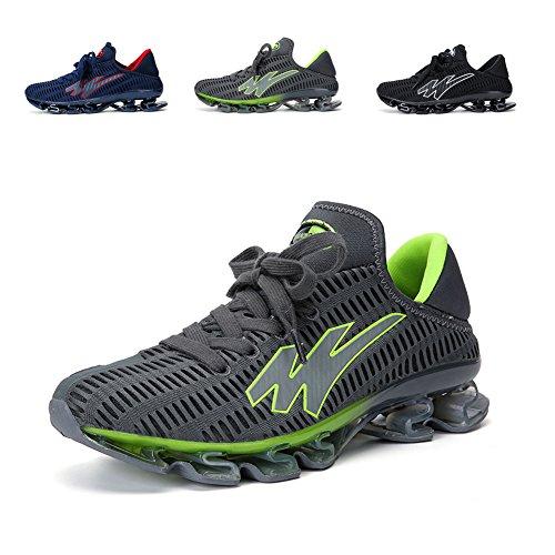 GOMNEAR Leichte Laufschuhe Männer Atmungsaktive Lace-up Fashion Stilvolle Rutschfeste Laufschuhe Sportlich Sport Große Größe Schuh Grau Grün