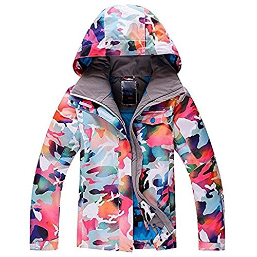 RIUIYELE Women's High Breathable Waterproof and Windproof colorful Snowboard Printed Ski Jacket