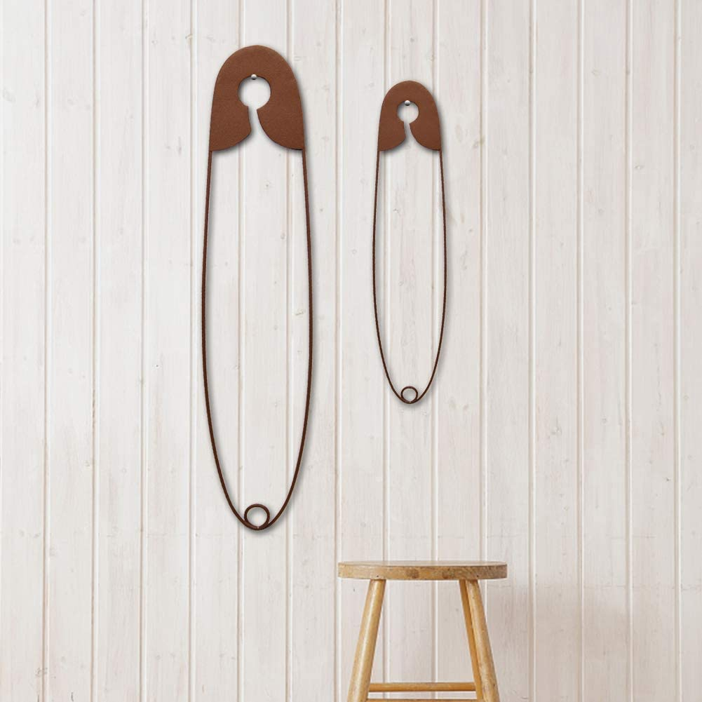 Juegoal Metal Wall Art Rustic Safety Pins Hanging for Laundry Room Home Wall Decoration, 2 Pack
