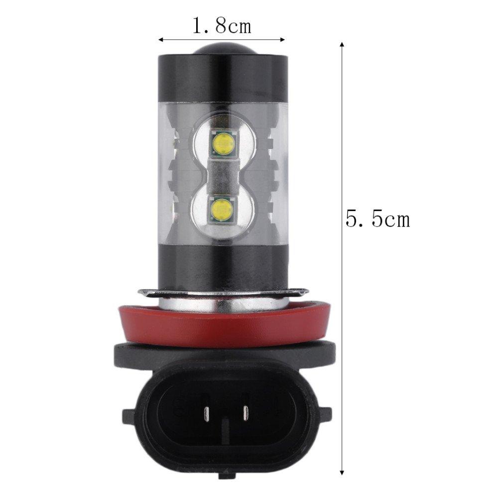 Tocoss(TM) 2x H8 H11 50W 6000K chips LED niebla del coche de la luz de niebla de la l¨¢mpara LED de los faros antiniebla luces de conducci¨®n del bulbo 12V blanco del xen¨®n