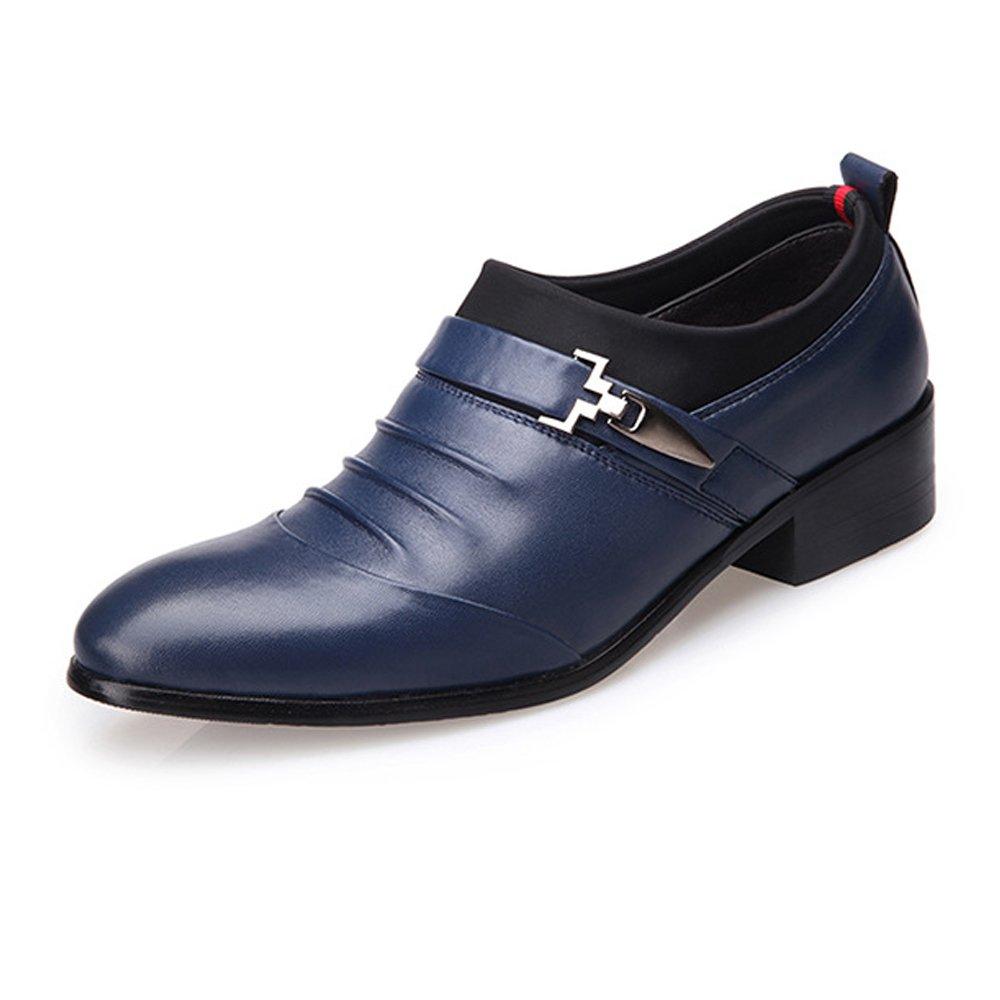 SRY-Schuhe Mode Herren Business Schuhe Matte PU Leder Splice oberen Slip-On atmungsaktiv gefüttert Oxfords (Farbe   Blau, Größe   8MUS)