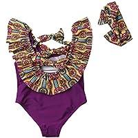 Maiô infantil floral com laço nas costas para bebês meninas recém-nascidos, roupa de banho para praia e faixa de cabeça duas peças