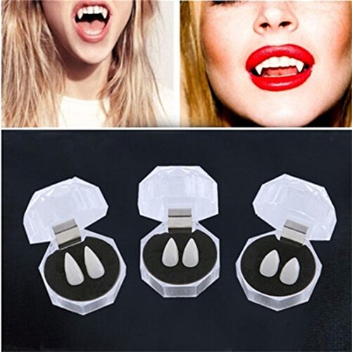 Halloween Devil Teeth,Hemlock Halloween Tooth Fangs Caps Zombie Vampire Dentures Halloween Party Props (17mm)