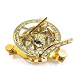 INDIA OVERSEAS TRADING CORP Solid Brass 4.5'' Sundial Compass in Wooden Box