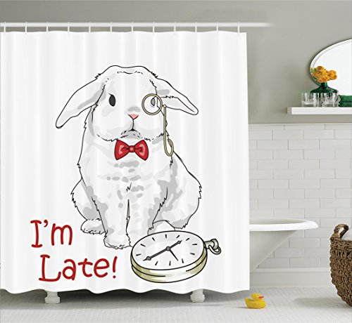 Ambesonne Alice in Wonderland Decorations Collection, Funny Rabbit with Watches Cartoon Alice Decor Character Fantasy, Polyester Fabric Bathroom Shower Curtain Set with Hooks, White (Christmas Wonderland Decorations)