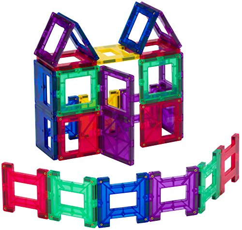 Playmags 162 24 Piece Set: Now with Stronger Magnets, Sturdy, Super Durable with Vivid Clear Color Tiles.