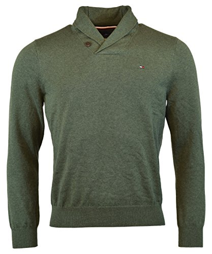Tommy Hilfiger Mens Premium Cotton Shawl Neck Sweater (Large, Pine Grove) by Tommy Hilfiger