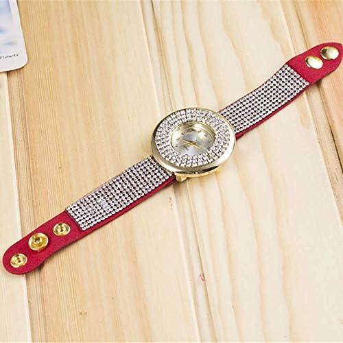 AMAZING1 Montre à quartz pour femme avec bracelet en cuir et cristal