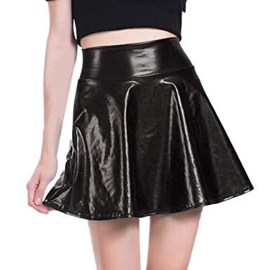 262d5e4b756f3 Mxssi Women's Casual Fashion Flared Pleated Skater Skirt Disco Wet Look  Pleated Short Skirt Shiny Metallic