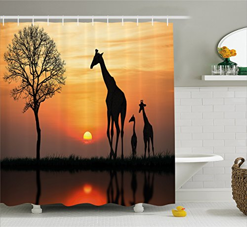 Wildlife Decor Shower Curtain by Ambesonne, Giraffes on Bushes by Lake Surface Horizon in the Middle of Nowhere Image, Fabric Bathroom Decor Set with Hooks, 70 Inches, Orange Black