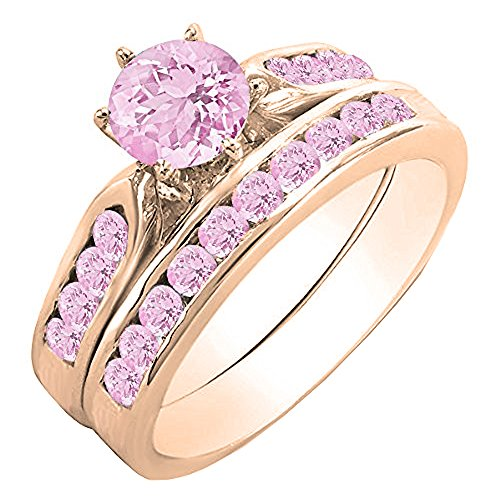 Dazzlingrock Collection 1.00 Carat (ctw) 10K Round Pink Sapphire Ladies Engagement Ring Set 1 CT, Rose Gold, Size 9