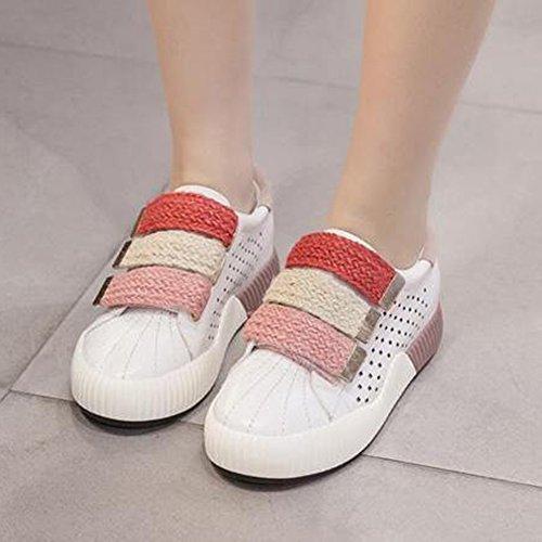 Easemax Contraste De Moda Para Mujer Color Recortable Costura Tejido De Gancho Y Plataforma Plataforma Zapatillas De Tacón Bajo Rosa