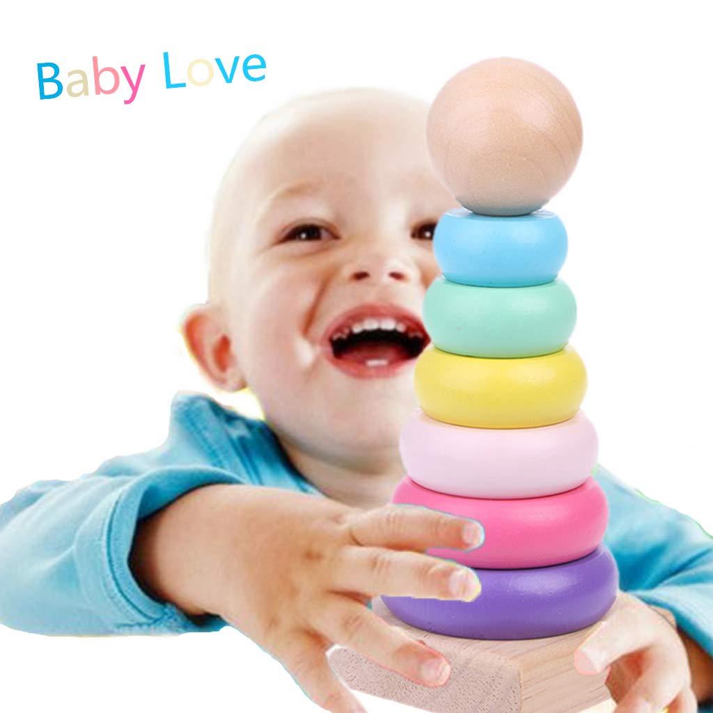 Manyo Puzzle Building Blocks Jouet, Rainbow Circle Stacked Blocs, Tour d'Empilement, Jouet d'Entraînement pour Bébé Jouet Éducatif Tour d' Empilement