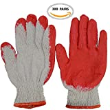 July's Best Construction Safety Working Gloves With Red Latex Rubber Palm Coated Gloves All Purposes Garden Garage (300 Pairs)