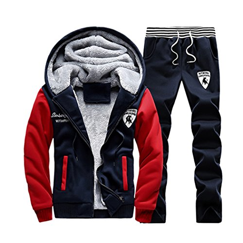 Rocky Sun Mens Velvet Tracksuit Winter Warm Jogger Hooded Pant Set R/B M (Leisure Suits For Sale)
