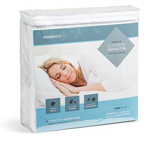 Greenco Premium Hypoallergenic Waterproof Mattress Protector - Vinyl Free (King)