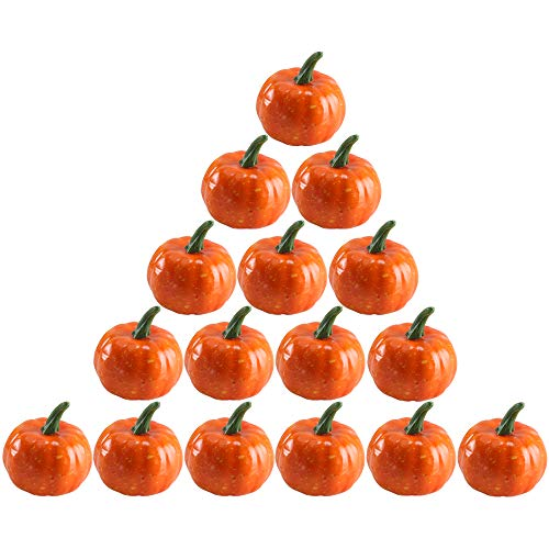 Nahuaa 16PCS Fall Decor Artificial Fruit DIY Craft Fake Foam Pumpkins Home Kitchen Vase Filler Thanksgiving Table Scape Halloween Decorations Accessory ()