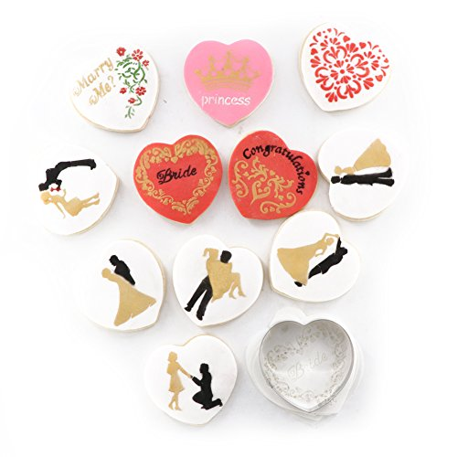 Marry Me Cookies (YOBeauty Wedding Cookie Decorating Stencil Set Fondant Mold, 11-Pieces Love Heart Cookie Stencils for Royal Icing, 1-Piece Cookie Cutter (Princess, Marry)