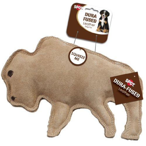 Ethical Pet Dura-Fused 9-Inch Leather Dog Toy, Large, Buffal